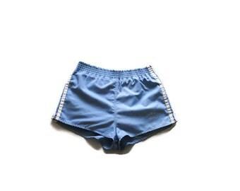 80s ADIDAS jogging shorts pastel blue 1980s vintage athletic retro boy shorts size 29 30