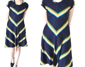 RAINBOW chevron dress 1970s 70s vintage dresses RETRO kawaii hippie playful SUMMER dress small medium