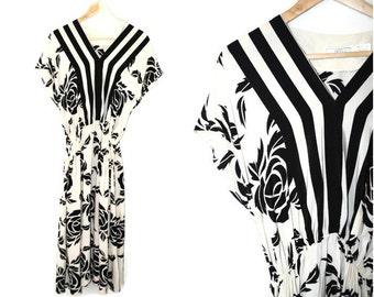 black + white silk mixed print dress 80s vintage rose print midi dress small medium