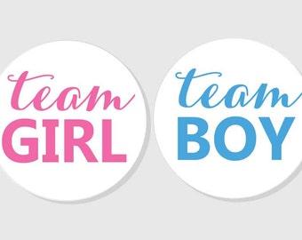 team GIRL team BOY gender reveal baby shower stickers - matte white finish - 1.5 inch - 2 inch - 2.5 inch - 3 inch