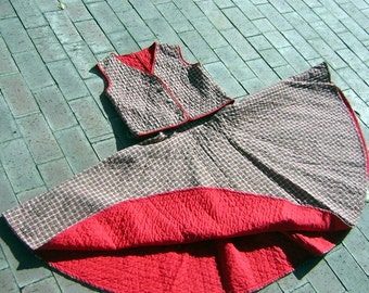 "Vintage 50 Girls Dress Set Quilted Red Plaid 2 Pc Vest & FULL CIRCLE Rockabilly Skirt - Waist 23"" Chest 32"""