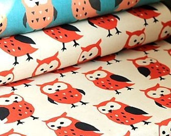 Japanese Kawaii Cotton Linen Blended Fabric - Owl - Half Yard