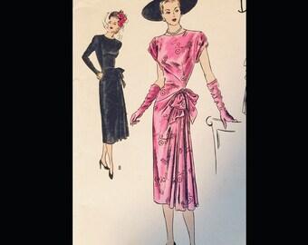 Vintage 40s  Vogue Special Design Swanky Cocktail Hip Swag Trimmed Dress Pattern 4797 B38