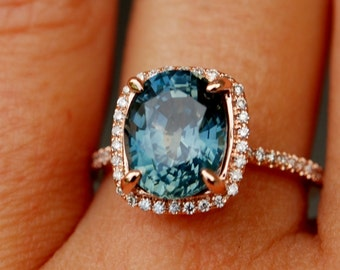 Blue Green sapphire engagement ring. Peacock sapphire 3.92ct cushion halo diamond  ring 14k Rose gold.