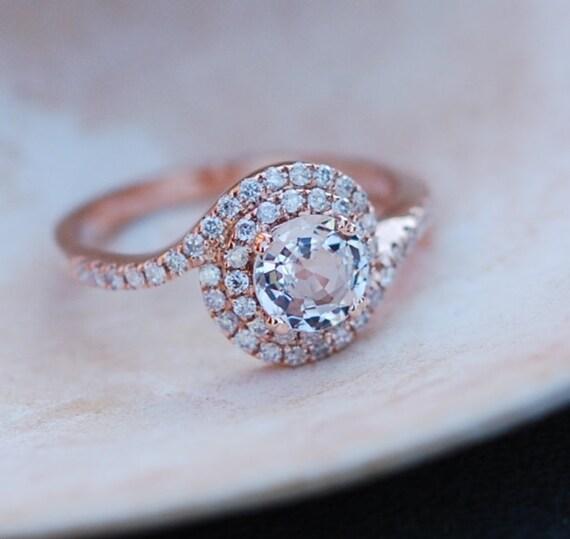 Rose gold engagement ring Peach sapphire swirl diamond ring 14k rose gold round sapphire
