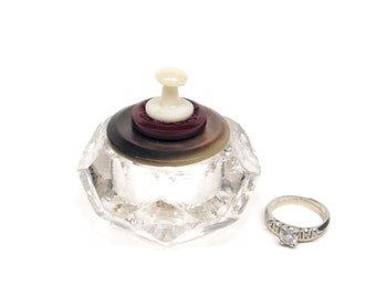 Maroon Shell Ring Box Vintge Salt Cellar Glass with Lid