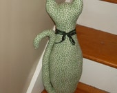 Tall cat pillow green accent kitty nursery doll toy fabric cupboard couch toy baby