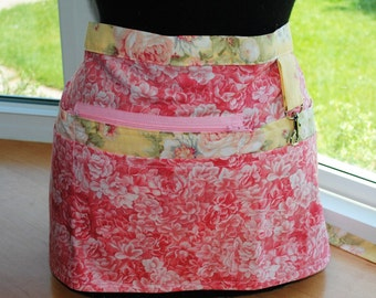 Handmade Vendor Apron  Utility Craft Farmers Market Pink Roses Yellow Floral Teacher Apron