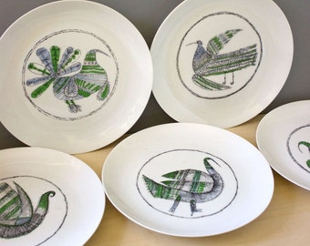 Bidasoa Spain modernist bird plates. Mid century modern serving.