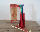 Golf Club Swizzle Sticks 19th Hole Caddy 8 Golf Sticks Stirrers Measuring Cup Cork Screw Mid Century Bar Decor Bar Accessories Original Box