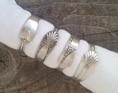 Spoon Napkin Rings Made From Antique Silverware, Set of 4, Lot 2 *Reserved for Sally*