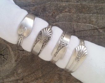 Spoon Napkin Rings Made From Antique Silverware, Set of 4, Lot 1