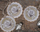 Set of THREE  Vintage inspired Victorian Swallowtail Birds  Christmas Gift Tags Ornaments Cream Grey