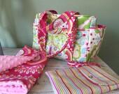 Diaper Bag Set + Changing Pad Minky Dot + Diaper Wristlet Clutch Nappy Baby Girl Baby Boy Watermelon Wishes Purple Grey Gray Chevron