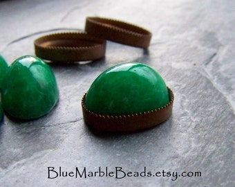 Oval Cabochon, Glass Cabochon, Jade Green, Jade Glass, Mottled, Japanese Glass, Flat Back Cabochon, High Domed, 17 x 12, 4 Cabochons