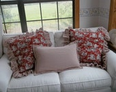 Custom Order Pair Ruffled Ticking & Toile Pillows Red Ticking Pillow Custom Sizes Available Decorative Pillows Woodland Toile Pillow Ruffled