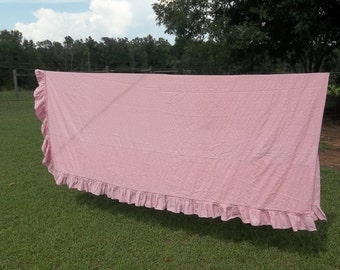 Vintage Pink Ruffled Bedspread Twin Size Bed Bedding Pink Bedspread French Country Prairie Cottage Chic