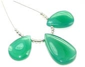 55% OFF SALE 3 Pcs set  18-22mm Green Onyx Smooth Pear Briolettes Finest Quality Great Price (Custom Orders Welcome)