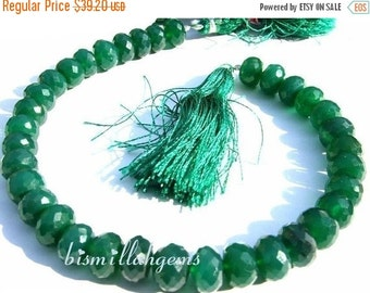 55% OFF SALE 1/2 Strand - Finest Quality Emerald Green Onyx Faceted Rondelles Size 8 - 9mm micro faceted rondelles