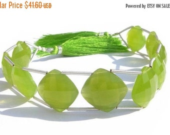 55% OFF SALE 1/2 Strand - Vesuvianite Chalcedony Double Drilled Faceted Cushion Briolettes Size 16x16mm Finest Quality Wholesale Price