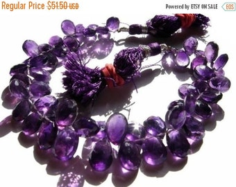 55% OFF SALE Half Strand - African Amethyst faceted pear briolettes Size 9x7 - 10x8mm approx