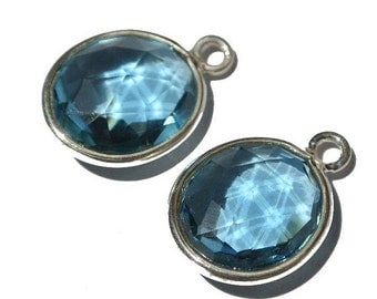 50% Off Valentine day 2Pcs 92.5 Sterling Silver Or 22 kt Gold Vermeil london Blue Quartz Faceted Oval Bezels Connectors Size 19x14mm Approx