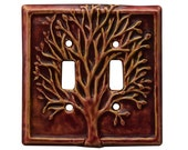 Tree Ceramic Light Switch Cover- double toggle in amber rose glaze