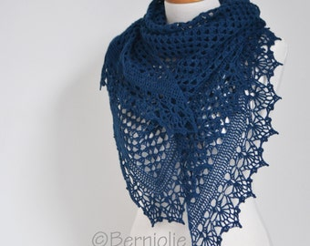 Crochet lace shawl, navy blue, P428