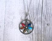 Reiki Necklace Seven Gemstone Chakra Flower Pendant Yoga Necklace Spiritual Healing Aura Balancing Gemstones Crystals