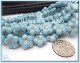 8 Baby Blue Pressed Czech Glass Flower Beads 14mm