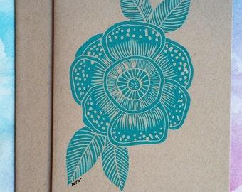 Blue turquoise flower linocut. Stationary.