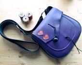 Leather Messenger Bag, Small across body gypsy bag, ARRIETY hearts 3157 violet
