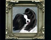 minature framed Papillon dog print