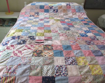 Colorful Antique Patchwork Patchwork Quilt Feed Sack Shabby Farmhouse Cottage