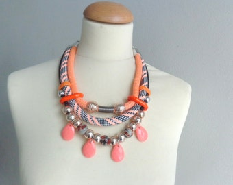 Tribal statement colorful necklace, orange black white