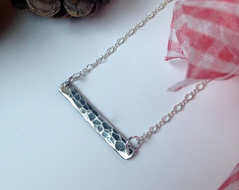 Simple Hammered Antiqued Silver Bar Minimalist Necklace