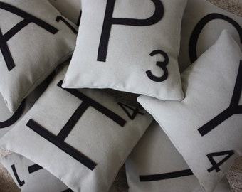 3 Scrabble Letter Pillows WITH INSERTS // Scrabble Tile Pillows // Name Pillow // Large Scrabble // Monogrammed Pillow // Initial Pillows