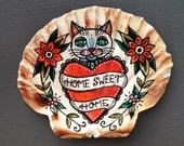 Home Sweet Home, Good Luck Cat, Illustrated Scallop Shell, Housewarming Gift