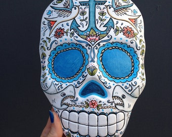 Nautical Sugar Skull, Wall Hanging Plaque, Decorated Day Of The Dead Skull