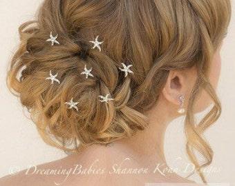 SALE So Sweet Bride Mermaid Starfish Rhinestone Pearl Hair Pins Set of 5