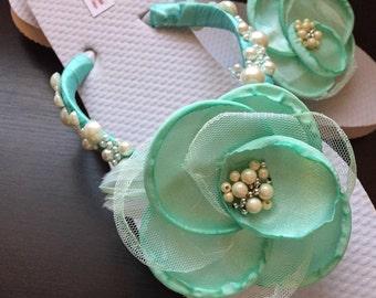 So Sweet Bride OOAK Osgood Chiffon Cinged Satin Flower and Pearl  Aqua Bridal Flip Flops