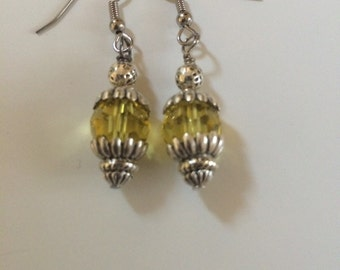 Yellow sparkler dangle earring
