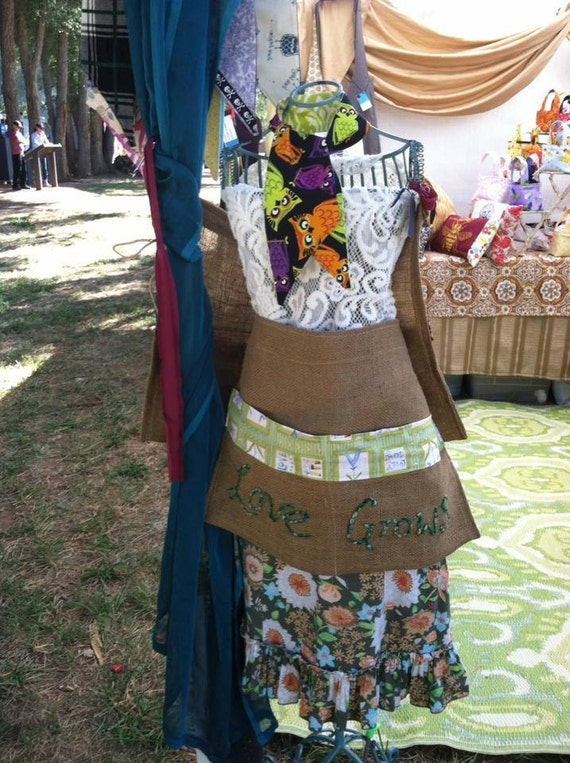 Gardening Apron Upcycled Burlap Love Grows