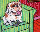 ON SALE Bulldog art tile, bulldog print on tile, dog, dog art, coaster, gift. modern folk art, living room art