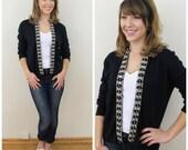 RÉSERVÉ pour Magdalena des années 50 Kate Collins noir perles strass pull Cardigan, taille moyenne