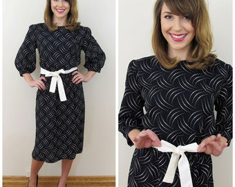 80s P. V. Rich Black and White Dot Puffed Sleeve Dress, Size Small