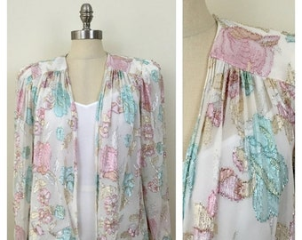 20% OFF SALE 80s PATRA White Floral Lame Sheer Open Blazer, Size Medium to Large, Xl