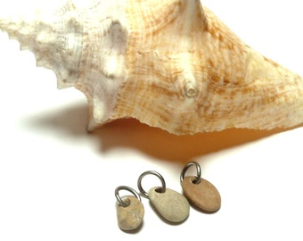 Beach Pebble diy Jewelry Beads ROCK LOBSTER Lake Rock Charms Natural Stone Pendant Earring Triple Set Cluster Trio Necklace Dangles