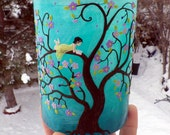 Reading in My Favorite Spring Blossoming Tree Sculpted with polymer Clay onto a Recycled glass Candle Holder in Pale Turquoise