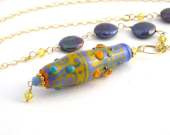 Gold Chain Necklace With Lampwork Pendant, 30 Inch, Periwinkle, Pearls, Long Necklace